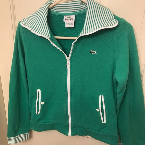 Vintage Lacoste Womens Knit Zip Up Small 40 Prep by Lacoste